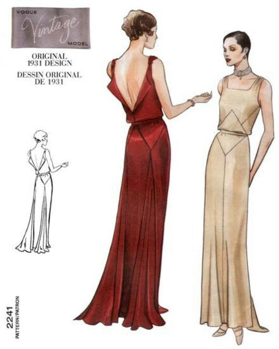 1930s Art Deco Backless Evening Gown Drape Square Neck  Vogue 2241 Uncut FF Size 18 Bust 40 Full Figure  Womens Sewing Pattern - Kinseysue's Shop