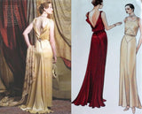1930s Art Deco Backless Evening Gown Drape Square Neck  Vogue 2241 Uncut FF Size 14 Bust 36  Womens Sewing Pattern - Kinseysue's Shop
