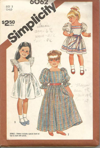1980s Girl's Dress Pattern Square Neck Sleeve and Length Variations Simplicity 6062 Size 3 Breast 22 Girls' Vintage Sewing Pattern