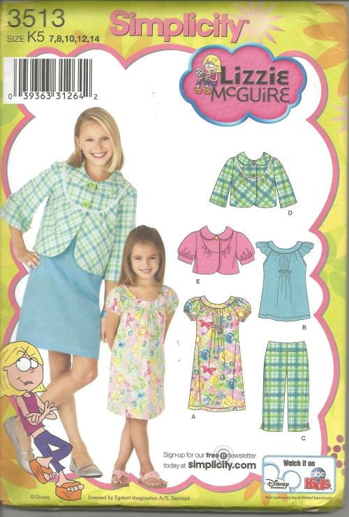 Girl's Wardrobe Dress Jacket with Length Variations Capris Top Simplicity 3513 Uncut FF Size 7 - 14 Girls' Sewing Pattern