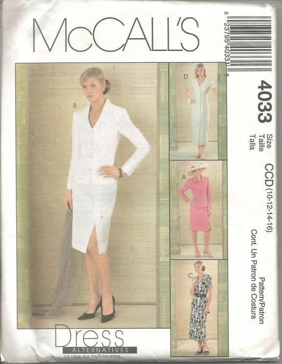 Misses Dress Skirt Jacket Work Career Office Wear or Casual Wear McCall's 4033 Uncut FF Sizes 10 - 16 Bust 32.5 - 38 Women's Sewing Pattern