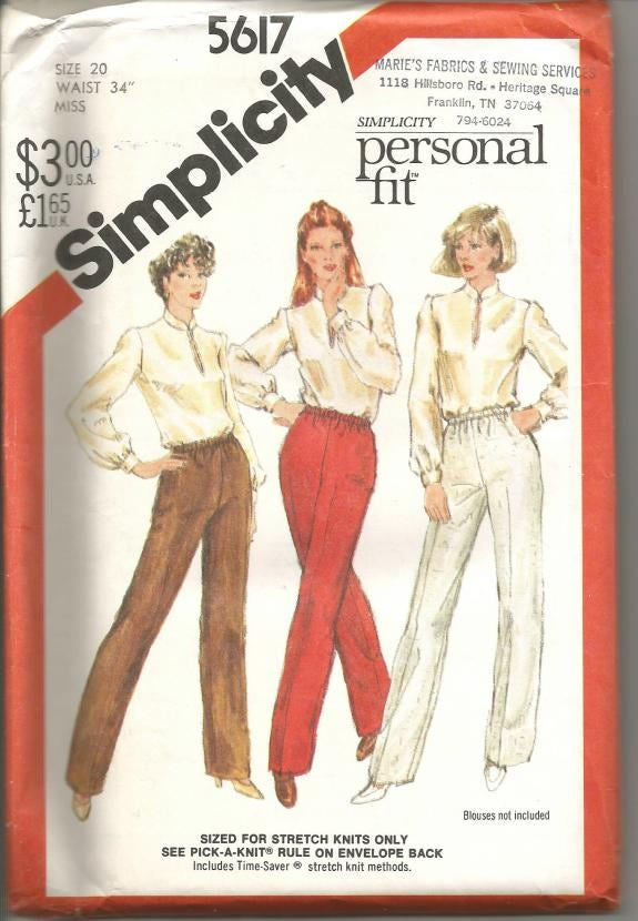 1980s Misses Pants Personal Fit For Stretch Knits Only Simplicity 5617 Uncut FF Size 20 Waist 34 Full Figure Women's Vintage Sewing Pattern