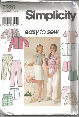 1990s Girls Shorts Tops Pants Skirt Easy to Sew Pattern Simplicity 7228 Uncut FF Sizes 7, 8, 10 Breast 26 - 28 Girls' Vintage Sewing Pattern