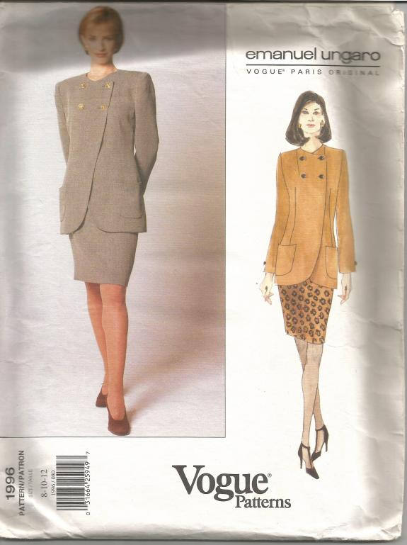 1990s Skirt and Jacket Asymmetrical Closure Emanuel Ungaro  Paris Original Vogue 1996 Uncut FF Size 8, 10, 12 Womens Vintage Sewing Pattern