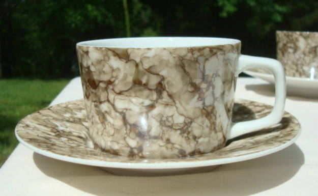 Vintage Georges Briard Marble Ware Brown Six Saucers Five Cups Vintage Teacups Vintage Coffee Cups