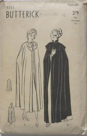 1940s Evening Cape Daytime Cape Length and Collar Variations Butterick 4591 Size Medium Bust 36 - 38 Women's Vintage Sewing Pattern - Kinseysue's Shop