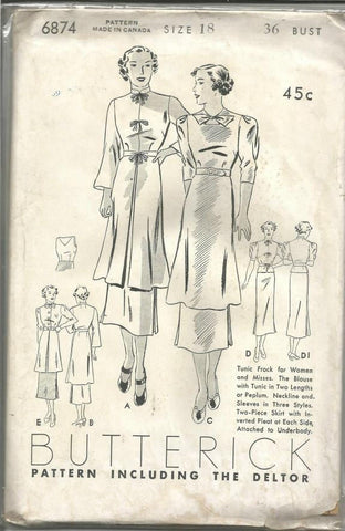 1930s Tunic Top and Attached Skirt Dress Butterick 6874 Size 18 Bust 36 Unused FF Women's Vintage Sewing Pattern - Kinseysue's Shop