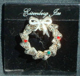 Christmas Wreath Pin Brooch Eisenberg Ice on Original Card Silver with Rhinestone Accents