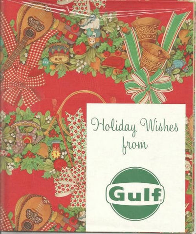 Vintage 1950s - 1960s Christmas Gift Wrap Sealed Unused Christmas Garland from Gulf Oil Two Sheets Vintage Christmas Vintage Gift Wrap