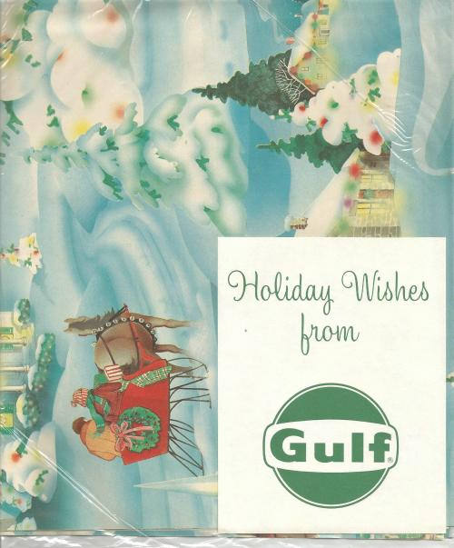 Vintage 1950s - 1960s Christmas Gift Wrap Sealed from Gulf Oil Two Sheets Sleigh Snow Covered Trees Vintage Christmas Vintage Gift Wrap