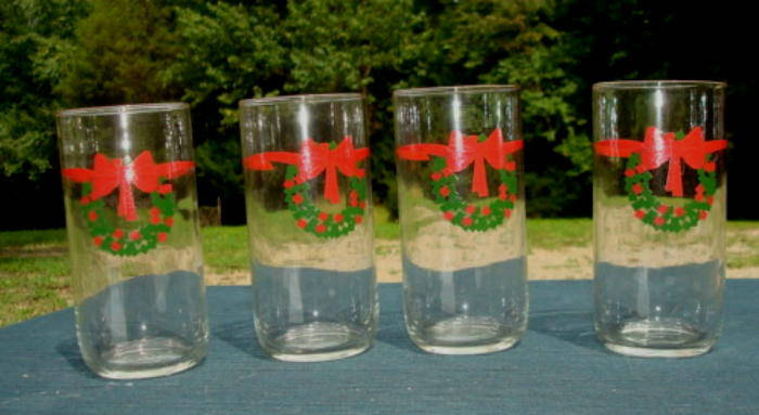 Christmas Glassware Set of Four Christmas Drinking Glasses Christmas Party Christmas Decor