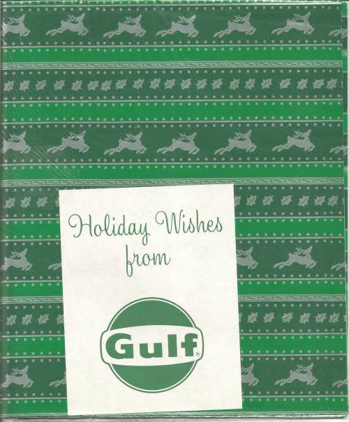 Vintage 1950s - 1960s Christmas Gift Wrap Sealed from Gulf Oil Two Sheets Silver Reindeer on Green Paper Vintage Christmas Vintage Gift Wrap