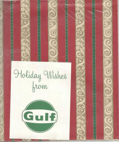 Vintage 1950s - 1960s Christmas Gift Wrap Sealed from Gulf Oil Two Sheets Red Green Gold Pattern Vintage Christmas Vintage Gift Wrap