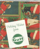 Vintage 1950s - 1960s Christmas Gift Wrap Sealed from Gulf Oil Two Sheets Santa and Mrs. Claus Vintage Christmas Vintage Gift Wrap