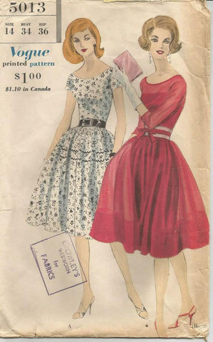 1960s Fit and Flare Dress and Slip Full Skirt Sleeve Variations Fitted Bodice Vogue 5013 Size 14 Bust 34 Women's Vintage Sewing Pattern