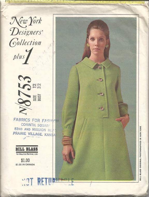 1960s Bill Blass A-Line Dress Long Sleeve or Sleeveless Button Closing McCall's 8753 Size 12 Bust 32 Womens Vintage Sewing Pattern