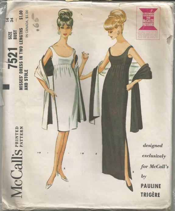 1960s Evening Cocktail Dress & Stole Scoop Neck High Waisted Pauline Trigere McCall's 7521 Size 14 Bust 34 Women's Vintage Sewing Pattern