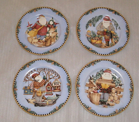 Woodland Santa Debbie Mumm Set of Four Salad or Dessert Plates Eight Inch Diameter Christmas Plates Christmas Table Christmas Decor