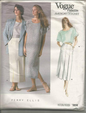 1980s Jacket Loose Fitting Dress Top Pleats Skirt Perry Ellis Designer Vogue 1858 Uncut FF Size 8 Bust 31.5 Women's Vintage Sewing Pattern