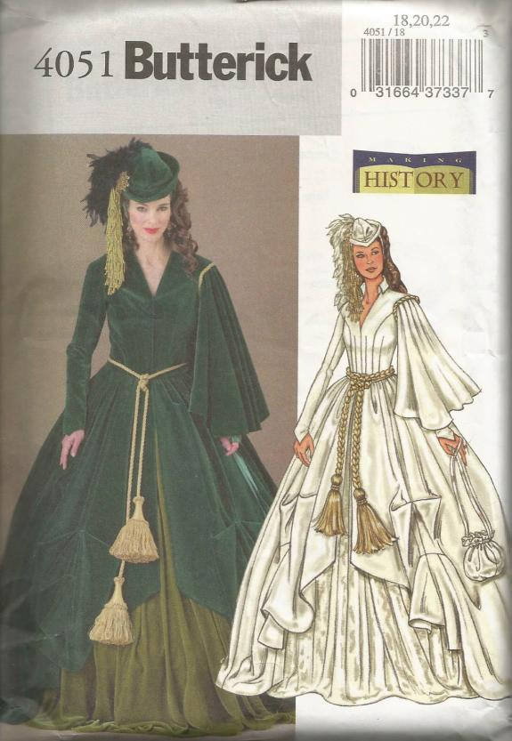Scarlett O'Hara Green Drapery Dress Gone With the Wind Plus Size UNCUT FF Butterick 4051 Size 18 20 22 Bust 40 42 44 Womens Sewing Pattern