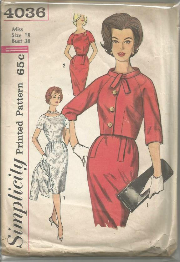 1960s Sheath Dress and Jacket Raglan Sleeves Office Career Wear Full Figure Simplicity 4036 Size 18 Bust 38 Women's Vintage Sewing Pattern