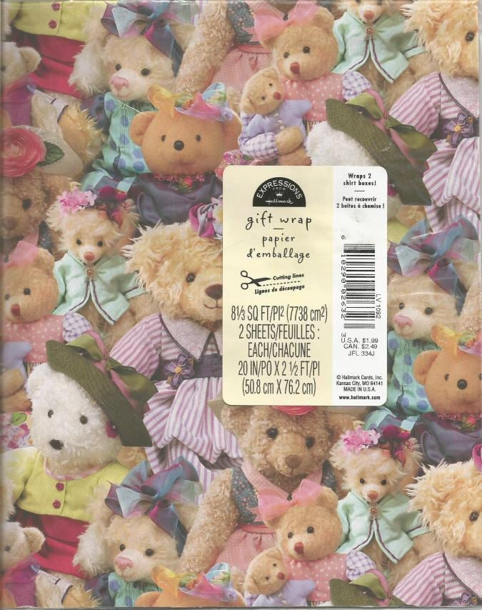 Teddy Bears Gift Wrap Baby Shower Child's Birthday Hallmark Expressions Never Opened Package Two Sheets Vintage Gift Wrap Wrapping Paper