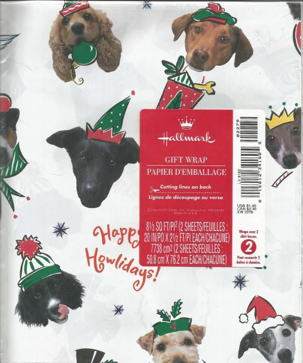 Christmas Wrapping Paper Dogs Dog Lover Happy Howlidays Hallmark Gift Wrap Christmas Gift Wrap