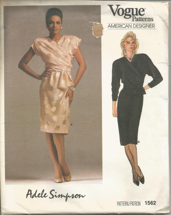 1980s Cocktail Dinner Theater Front Overlay with Tie Ends Adele Simpson Vogue 1562 Size 10 Bust 32.5 Uncut FF Women's Vintage Sewing Pattern