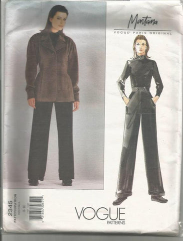 1990s Montana Lined Jacket Straight Leg Cuffed Pants Vogue 2345 Uncut FF Size 8-10 Bust 31.5-32.5 Women's Vintage Sewing Pattern