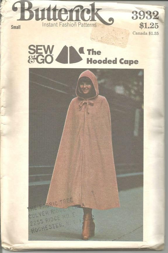 1970s Hooded Cape Flared Mid Calf Length Butterick 3932 Uncut FF Size Small Bust 31.5 - 32.5 Women's Vintage Sewing Pattern