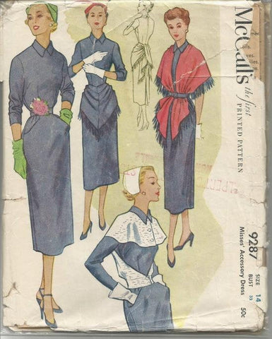 1950s Slim Sheath Dress and Accessories Stole Hip Drape Capelet  McCall's 9287 Uncut FF Size 14 Bust 32 Women's Vintage Sewing Pattern