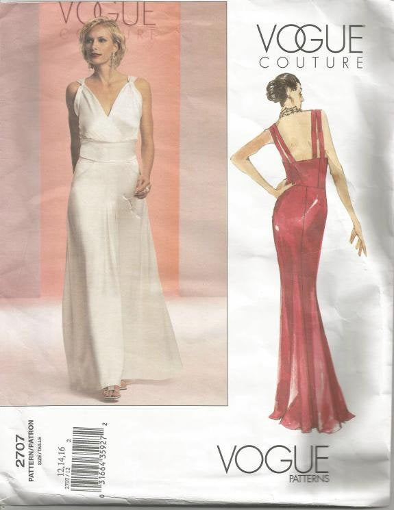 Evening Dress Backless Plunging Neckline Mock Wrap Shoulder Straps OOP Vogue 2707 Uncut FF Sizes 12-16 Bust 34-36-38 Women's Sewing Pattern