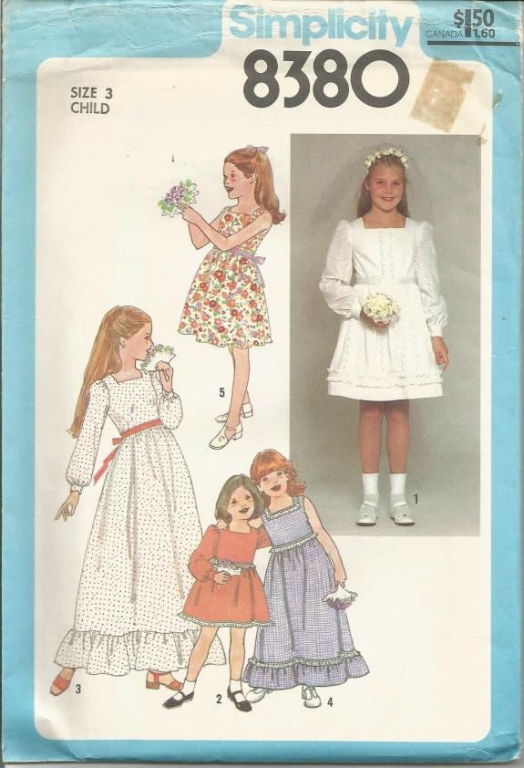 1970s Girls' First Communion Flower Girl Easter Dress Sundress Simplicity 8380 Uncut FF Size 3 Breast 22 Girl's Vintage Sewing Pattern