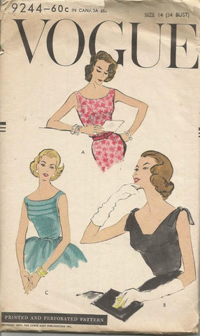 1950s Day Evening Blouses Three Styles V Neck or Jewel Neckline Vogue 9244 Size 14 Bust 34 Women's Vintage Sewing Pattern