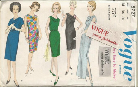 1960s Sheath Day Cocktail Evening Cowl Neck  Easy to Sew Vogue 5727 Uncut FF Sew In Label Size 14 Bust 34 Women's Vintage Sewing Pattern