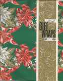Vintage Christmas Gift Wrap Red and White Poinsettias Gift Wrapping Art Craft NOS Christmas Paper Vintage Wrapping Paper Christmas Gift Wrap