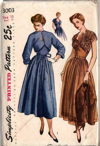 1940s Cocktail Dinner Party Dress & Bolero Sweetheart Neck Shaped Midriff C/C Simplicity 3003 Size 14 Bust 32 Women's Vintage Sewing Pattern - Kinseysue's Shop