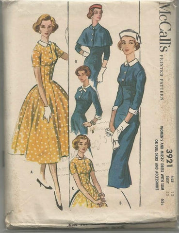 1950s Sheath or Fit and Flare Dress Capelet McCall's 3921 Uncut FF Bust 32