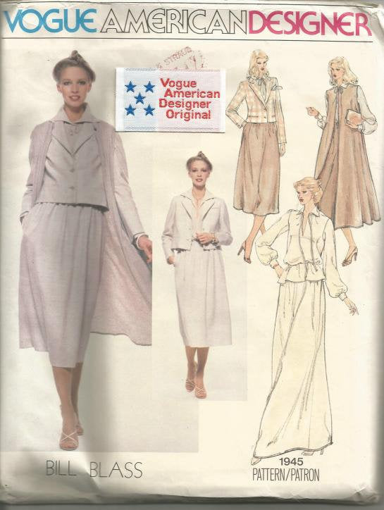 1970s Bill Blass Duster Coat Skirt Jacket Blouse Day Evening Lengths Vogue 1945 Uncut FF Label Sz 10 Bust 32.5 Womens Vintage Sewing Pattern