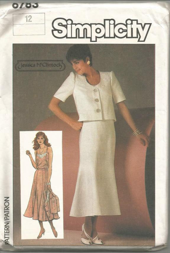 1980s Camisole Flared Skirt U Neck Cropped Jacket Suit Pattern Simplicity 6783 Uncut FF Size 12 Bust 34 Women's Vintage Sewing Pattern