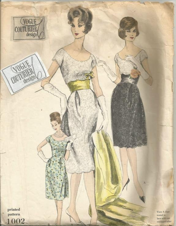 1960s Evening Cocktail Dress Slip Stole Pattern Scoop Neck Vogue Couturier Vogue 1002 Label Size 10 Bust 31 Women's Vintage Sewing Pattern