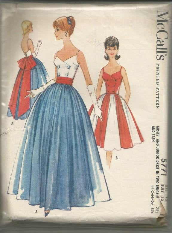 1960s Backless Evening Gown Cocktail Dress Fit and Flare Double Breasted McCall's 5771 Uncut FF Bust 32 Women's Vintage Sewing Pattern