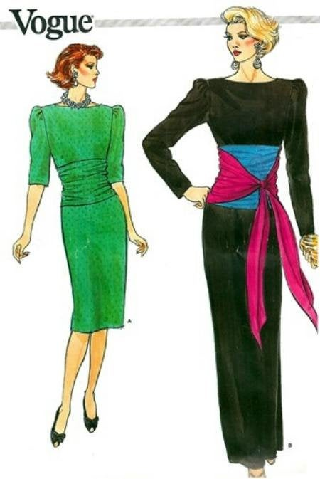 1980s Sheath Day Evening Dress Bias Drape Insets Short or Long Sleeves Vogue 9380 Uncut FF Size 8-10-12 Women's Vintage Sewing Pattern