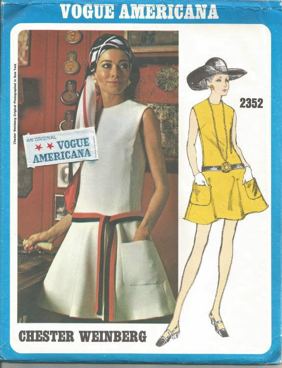 1970s Mod Flared Drop Waist Sleeveless Dress Chester Weinberg Vogue 2352 Uncut FF Label Size 10 Bust 32.5 Women's Vintage Sewing Pattern