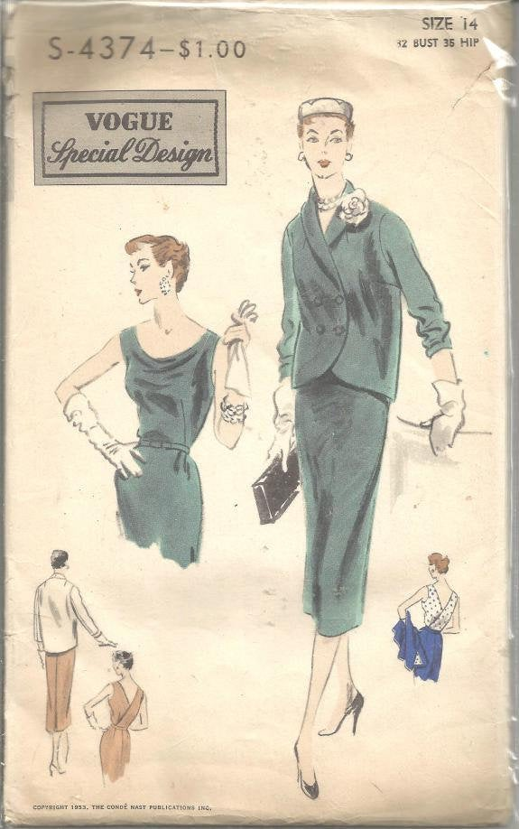 1950s Cocktail Dinner Sleeveless Sheath Dress and Jacket Vogue S-4374 FF with Label Bust 32 Women's Vintage Sewing Pattern
