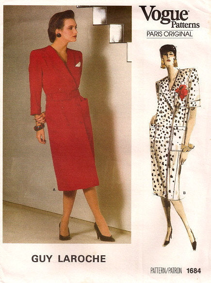 1980s Double Breasted Dress Long or Short Sleeves Vogue 1684 Size 10 Bust 32.5 Women's Vintage Sewing Pattern
