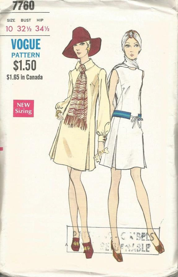 1970s Mod Dress Inverted Pleats Collar-Sleeve Variations Attached Scarf Vogue 7760 Uncut FF Sz 10 Bust 32.5 Women's Vintage Sewing Pattern