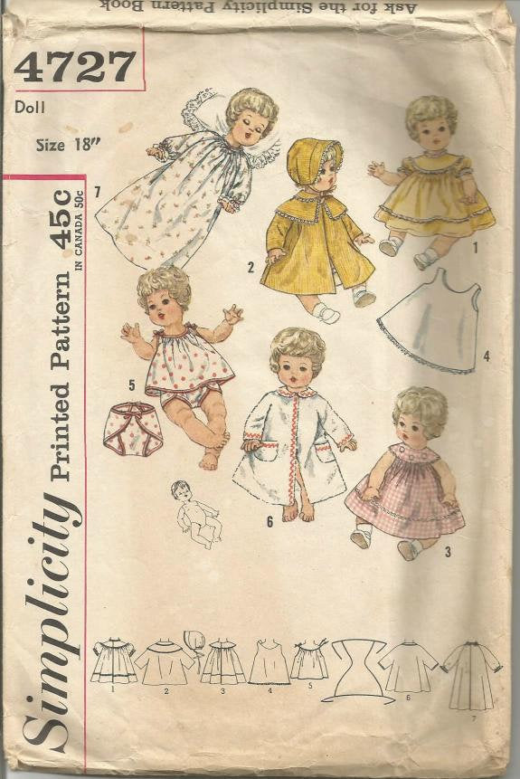 1960s Doll Clothes for 18 Inch Doll Betsy Wetsy Carrie Cries Sweetie Pie Simplicity 4727 Vintage Doll Clothes Sewing Pattern