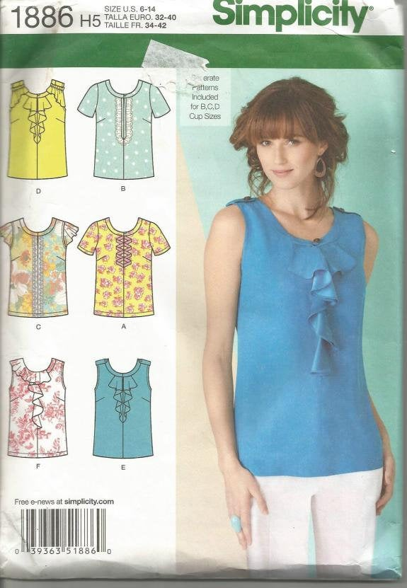 Women's Top Six Styles Sleeveless Short Sleeve Simplicity 1886 Size 6-14 Uncut FF Women's Sewing Pattern Top Sewing Pattern Summer Tops