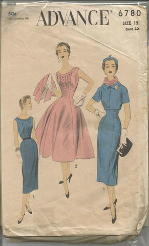 1950s Sheath or Full Skirt Cocktail Dinner Theater Empire Waist Sleeveless Dress & Jacket Advance 6780 Women's Vintage Sewing Pattern